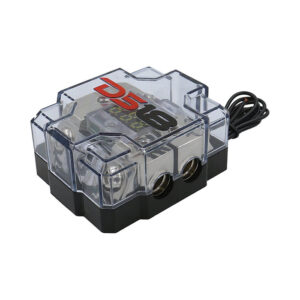 DS18 FDG1224AFS-80A, One 2 Gauge or One 0 Gauge Inputs and Two 4 Gauge Outputs Mini ANL AFS Fuse Holder and Distribution Block