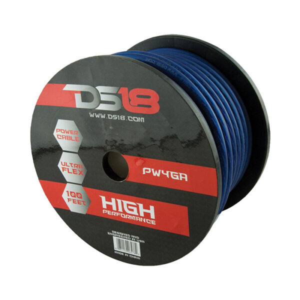 DS18 PW-4GA-100BL, Ultra Flex 100' CCA 4 Gauge Blue Power Cable