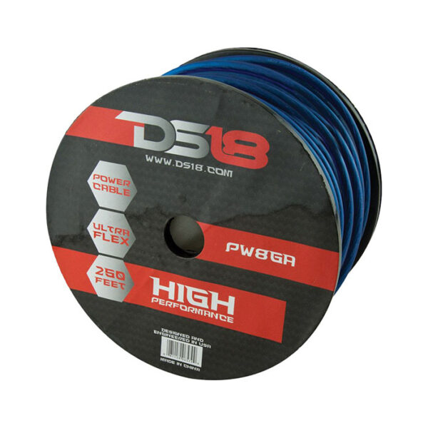 DS18 PW-8GA-250BL, Ultra Flex CCA 250' 8 Gauge Blue Power Cable