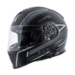 TORC T-14 Full Face Helmet W/blinc Bluetooth - Scramble Grey