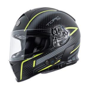 TORC T-14 Full Face Helmet W/blinc Bluetooth - Scramble Hi-viz Green